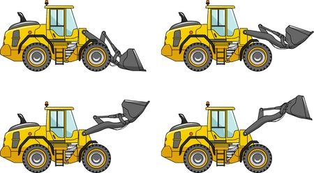 loaders: Detailed illustration of wheel loaders, heavy equipment and machinery