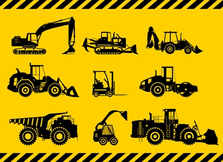 heavy industry: Silhouette illustration of heavy equipment and machinery