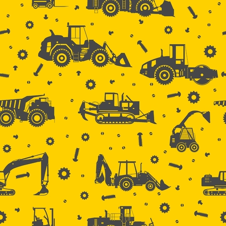 road scraper: Seamless pattern with silhouette of heavy equipment and machinery