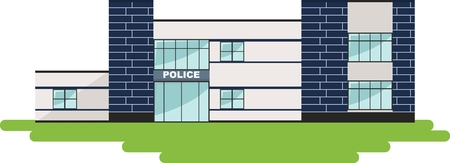 department: Detailed illustration of  police department building in a flat style.