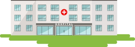 hospital sign: Detailed illustration of  medical center building in a flat style.