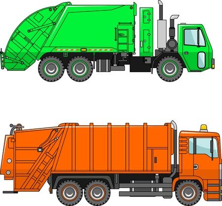 camion de basura: Dos variantes de los camiones de basura en un estilo plano Vectores