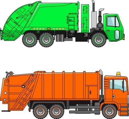 loading truck: Two variants of the garbage trucks  in a flat style
