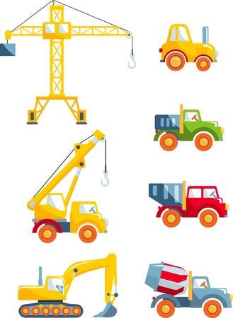 おもちゃの重い装置および白い背景の上の機械の別の種類。ベクトルの図。