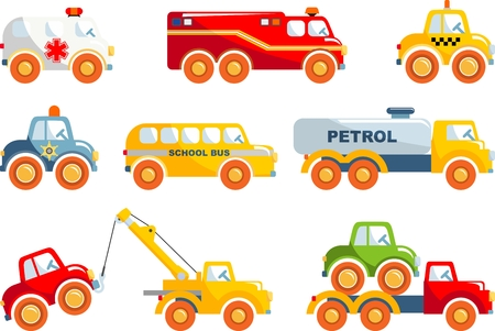 Different kind of toys transportation on white background. Vector illustration.