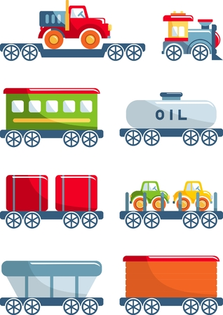 train station: Different kind of toys railroad transportation on white background. Vector illustration