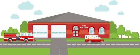 estacion de bomberos: Ilustraci�n detallada de la construcci�n de la estaci�n de bomberos y el cami�n de bomberos en un estilo plano. Vectores