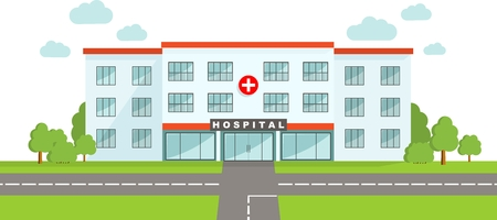 Detailed illustration of  medical center building in a flat style.