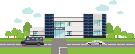 police: Detailed illustration of  police department building and police car in a flat style. Illustration