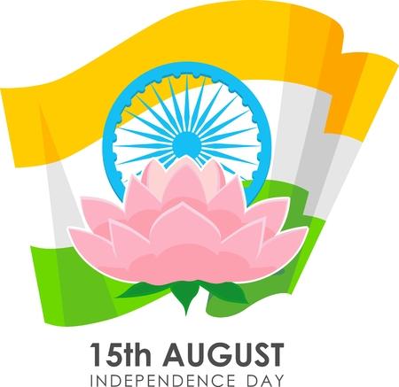 ashoka: Illustration for Indian Independence Day with flag, ashoka wheel and lotus in a flat style. Illustration