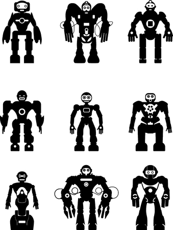 alien robot: Abstract robots set isolated on white background. Vector illustration