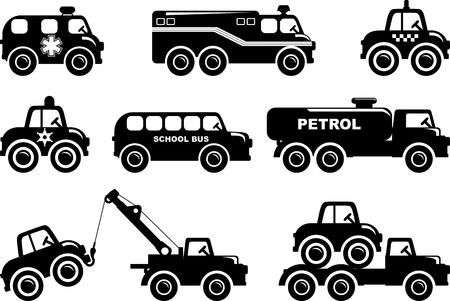 brandweer cartoon: Verschillende soorten speelgoed vervoer op een witte achtergrond. Vector illustratie.