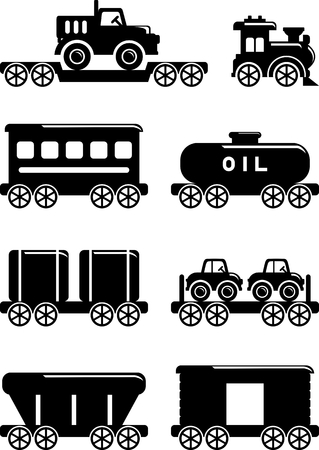 railroad transportation: Different kind of toys railroad transportation on white background. Vector illustration