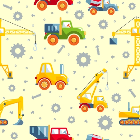 machinery: Detailed seamless background with toys heavy equipment and machinery