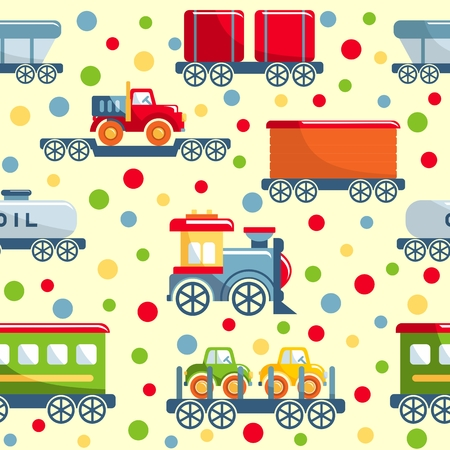 railroad transportation: Detailed seamless background with toys railroad transportation