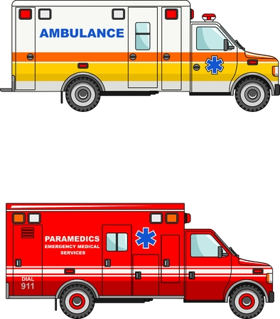 public health services: Two variants of the ambulance in a flat style
