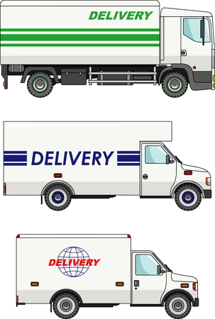 variants: Three variants of delivery cars in a flat style Illustration