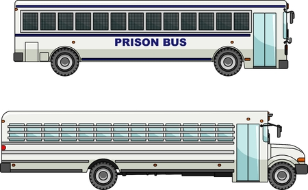 Two variants of a prison bus in flat style Vettoriali