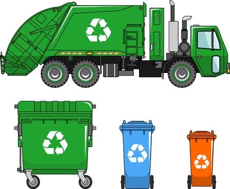 Camión de basura y tres variantes de los contenedores de basura en un estilo plano