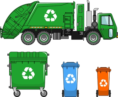 trash can: Garbage truck and three variants of dumpsters in a flat style