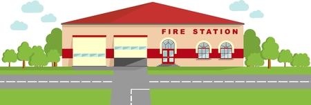 estacion de bomberos: Ilustraci�n detallada de la construcci�n de la estaci�n de bomberos en un estilo plano.