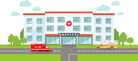 Detailed illustration of  medical center building and two ambulance cars in a flat style. Stock fotó - 43833080