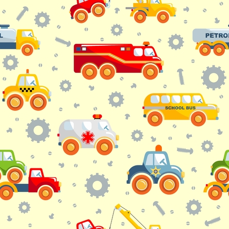 varied: Detailed seamless background with varied toys transportation Illustration