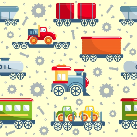 baby boys: Detailed seamless background with toys railroad transportation