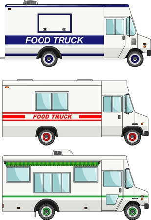 Three variants of food trucks in a flat style