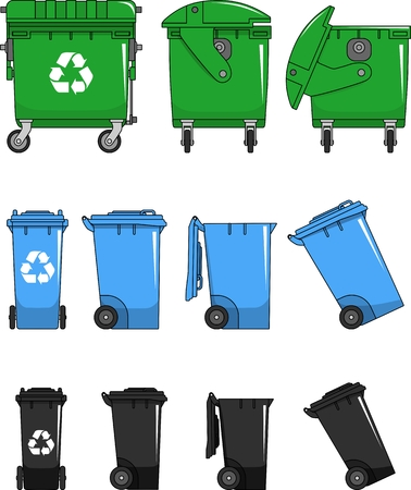 Different variants of dumpsters in flat style