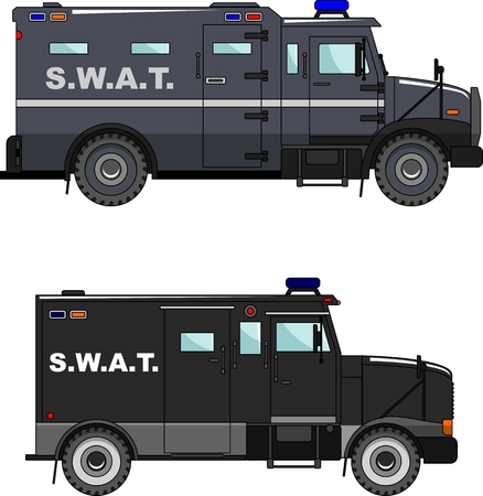 variants: Two variants of the police car in a flat style.