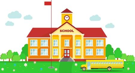 Klassiek schoolgebouw en de school bus geïsoleerd op witte achtergrond