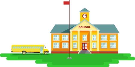 Edificio de la escuela clásica y autobús escolar aislado en fondo blanco