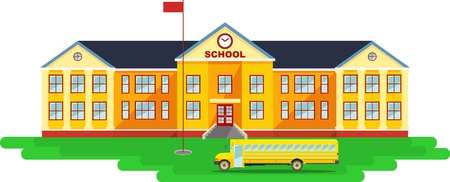 Classical school building and school bus isolated on white background Stock Illustratie