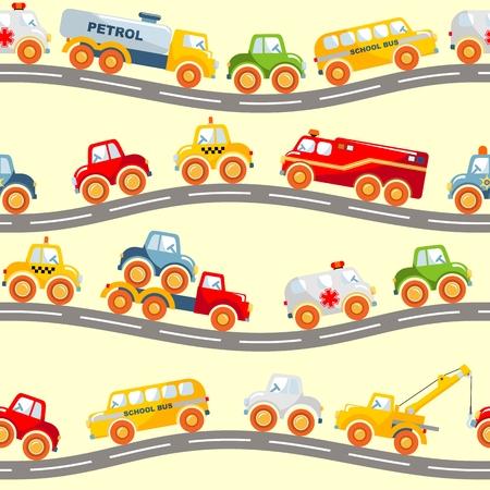 juguete: De fondo sin fisuras detallada con variada transporte juguetes