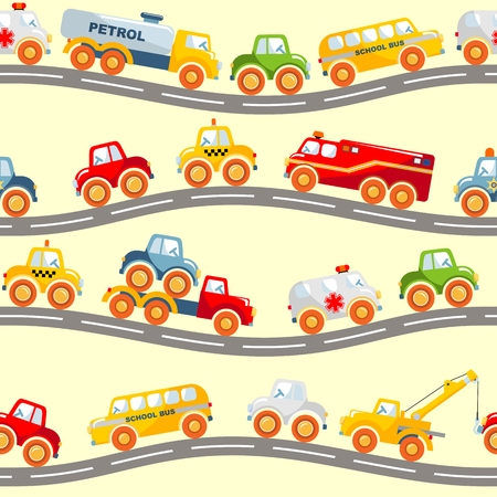 baby toy: Detailed seamless background with varied toys transportation Illustration