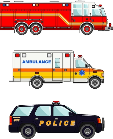fire and water: Detailed illustration of fire truck, police and ambulance cars in a flat style