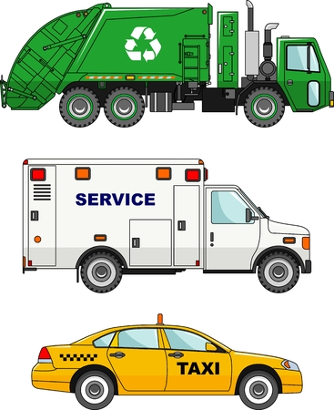 garbage truck: Detailed illustration of garbage truck, taxi car and service machine in flat style