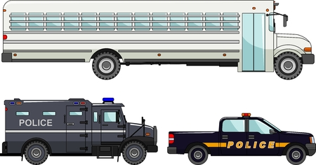 wheel guard: Detailed illustration of prison bus and police cars in flat style Illustration