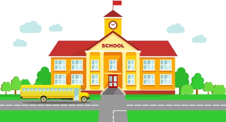 cartoon clock: Classical school building and school bus isolated on white background Illustration