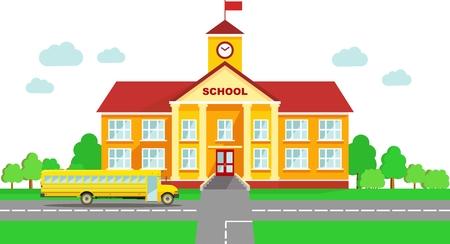 scuola: Edificio scolastico classico e scuola bus isolato su sfondo bianco