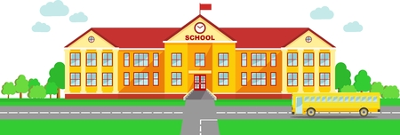 university students: Classical school building and school bus isolated on white background Illustration