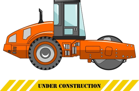 compactor: Detailed illustration of compactor, heavy equipment and machinery Illustration