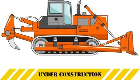 heavy equipment: Detailed illustration of dozer, heavy equipment and machinery