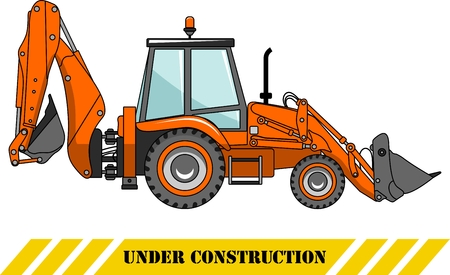 heavy: Detailed illustration of backhoe loader, heavy equipment and machinery
