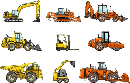 construction equipment: Silhouette illustration of heavy equipment and machinery