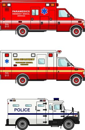 ambulancia: Ilustraci�n detallada de cami�n de bomberos, polic�a y ambulancias en un estilo plano Vectores