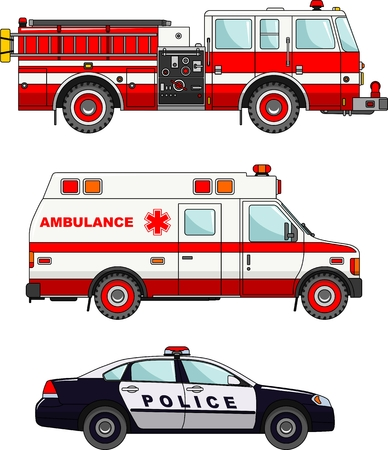 police cartoon: Detailed illustration of fire truck, police and ambulance cars in a flat style