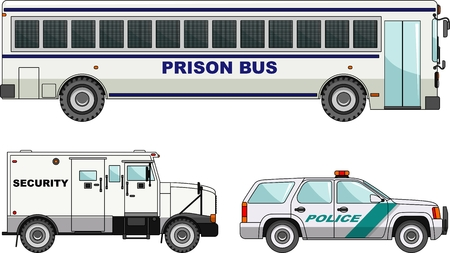 Detailed illustration of prison bus, security and  police cars in a flat style Vettoriali