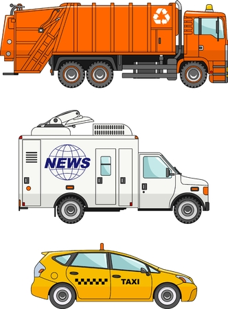 news van: Detailed illustration of garbage truck, taxi car and car crew media news in flat style